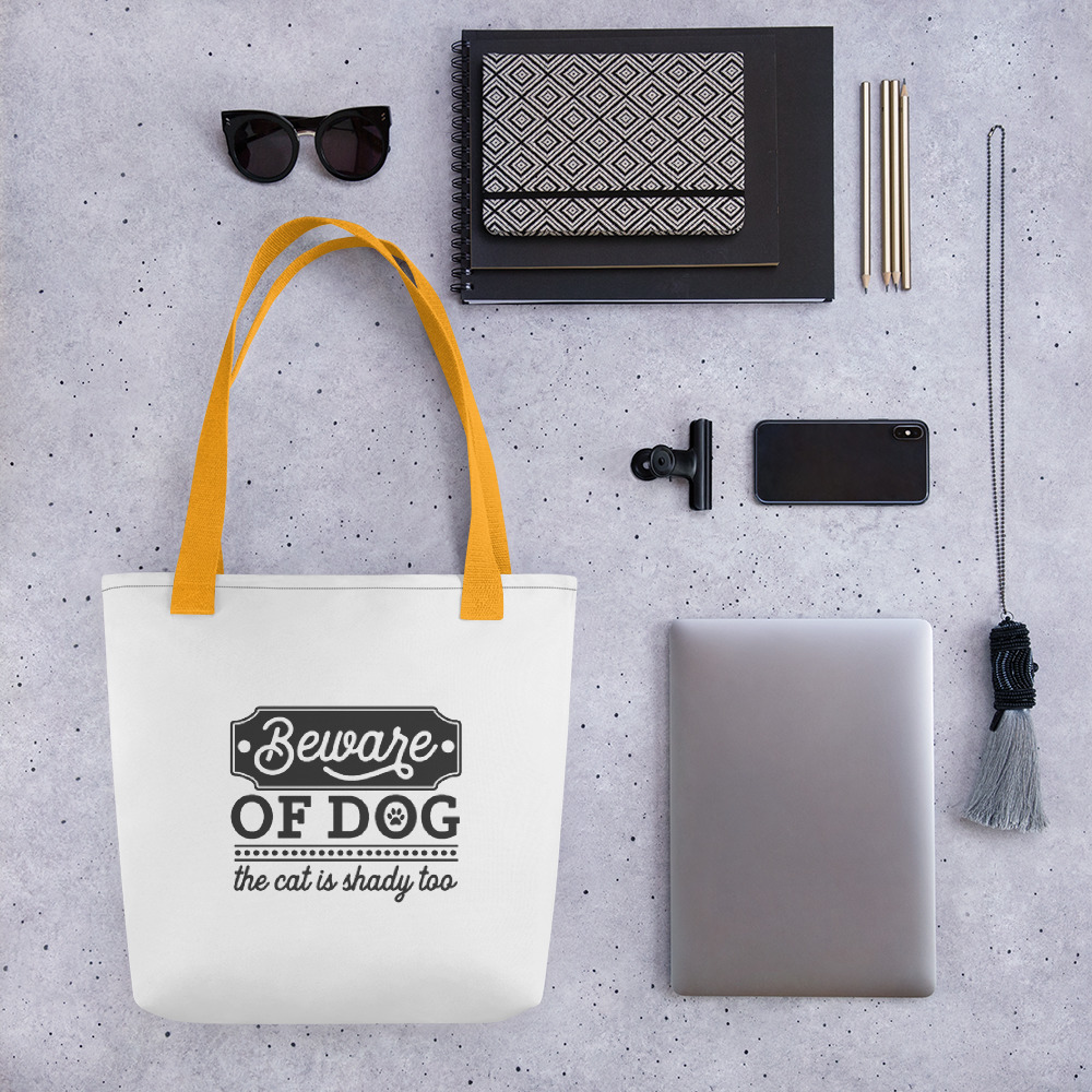 Beware of dog - the cat is shady too - tote bag